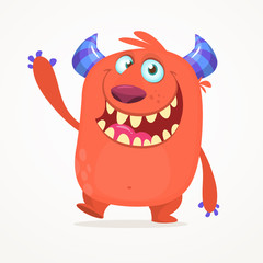 Cute cartoon monster. Vector troll or gremlin character. Halloween design