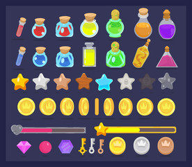 Big set of game resources and elements icon. Coins with animation, stars, life and power bars, poison bottles, keys and gems.