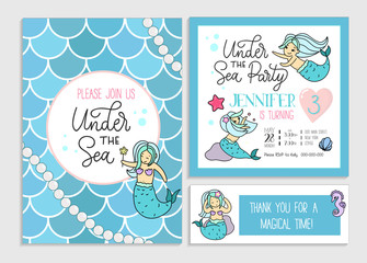Under the sea party invitation for little girl mermaid. Set of greeting cards and invitations with hand drawn cute mermaids, lettering and doodles.