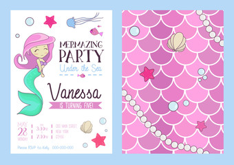 Mermaid party invitation with cute mermaid, starfish, seashell and scales. Birthday party design template with cartoon hand drawn elements. Vector illustration