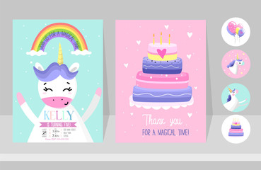 Custom vertical slats with your photo Unicorn cards set for Birthday party. Birthday invitation design for unicorn party. Cute hand drawn cards with unicorns.