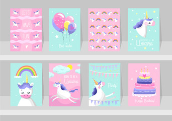 Custom vertical slats with your photo Big set of cute unicorn cards. Motivational and inspirational posters with unicorns. Born to be a Unicorns. Dream like a unicorn. Happy Birthday. Vector illustration.