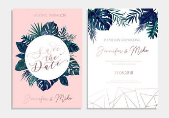 Save the date tropical invitation design. Modern wedding card with tropical leaves and blush pink background. Trendy design for poster or greeting card.