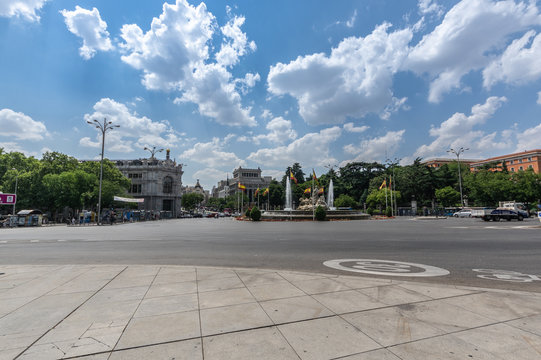 View of the Cibeles fountain on the Paseo de la Castellana in Madrid, Spain. Summer of 2018.