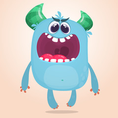 Cartoon monster with scary expression face. Vector character
