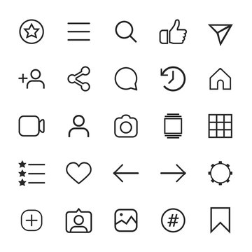 Set of internet linear icons for social media