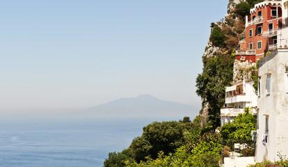 Blick von der Aussichtsterrasse an der Piazza Umberto I, Insel Capri, Provinz Neapel, Napoli, Kampanien, Campagna, Italien, Italia
