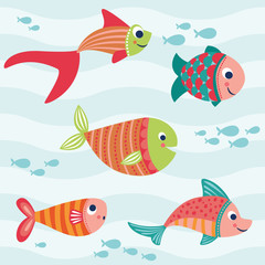 Colorful Cartoon Tropical Group of Fish Vector Illustration