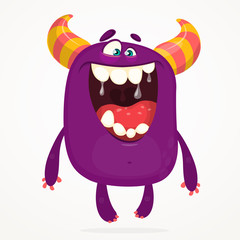 Angry cartoon monster. Halloween vector horned monster