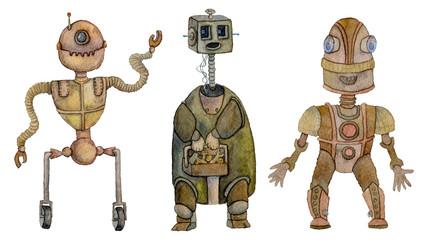Robots set. Isolated on white background. Watercolor illustration