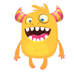 Funny cartoon monster. Vector Halloween orange monster. Big set of cartoon monsters