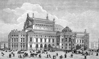 Vintage engraving, Palais Garnier opulent opera house in Paris,lateral view