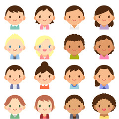 世界の人々 人種 男女 顔 かわいい フラットアイコン セット