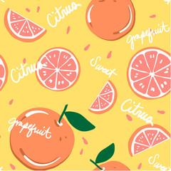 Vector Seamless Pattern for Grapefruit