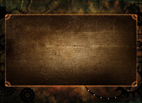 Steampunk vintage frame, banner background, menu, cogs, gears on grunge canvas paper
