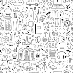 Cute doodle school pattern. Seamless background with school and science objects and illustrations in hand drawn style