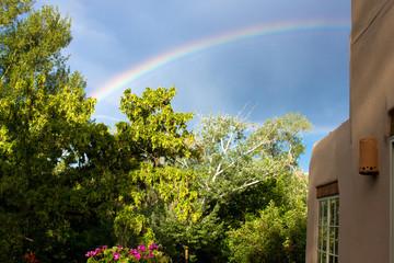 A rainbow over Santa Fe, New Mexico, during the summer rainy season