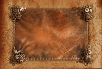 Steampunk background vintage frame cogs, gears on canvas paper, old retro