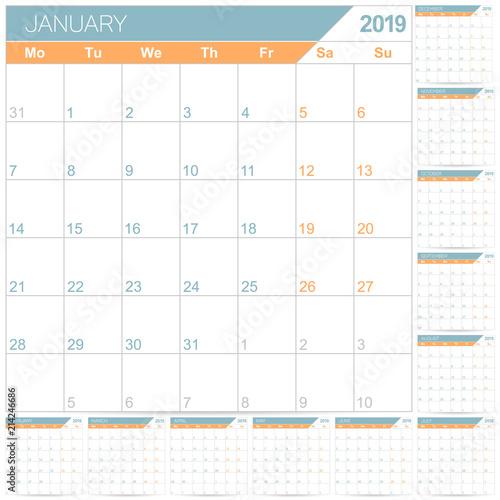 English Calendar 2019 English Planning Calendar 2019 English