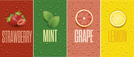 Drinks and juice background with drops and grapefruit, lemon slice, mint leaf and strawberry