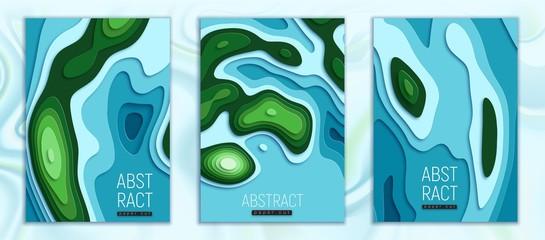 islands and ocean paper cut set