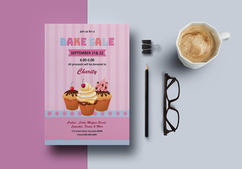 Bake Sale Flyer Layout with Cupcake Illustrations