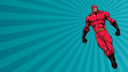 Full length illustration of powerful superhero looking down while soaring over abstract background. Wall mural