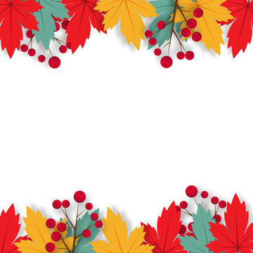 Autumn background with paper art design vector and illustration