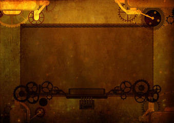 Vintage frame steampunk background, cogs and gears on canvas paper