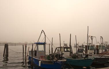 Fischerboote im Fischereihafen von Goro, Delta del Po, Po-Delta, Provinz Ferrara, Veneto, Norditalien, Italien, Europa