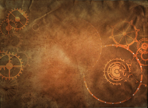Steampunk vintage metal frame background with rusty grunge collage, cogs, dark elements, wheels and gears on paper canvas dirty texture