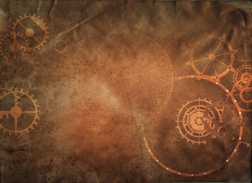 Vintage steampunk background, cogs and gears on grunge old canvas paper