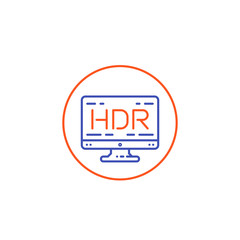 HDR screen vector line icon