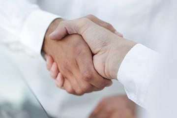 close-up of business handshake.