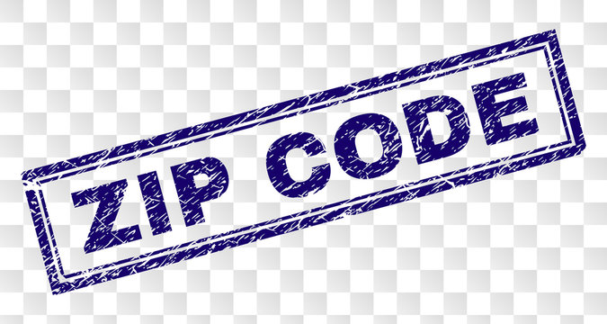 ZIP CODE stamp seal print with scratched style and double framed rectangle shape. Stamp is placed on a transparent background. Blue vector rubber print of ZIP CODE text with scratched texture.