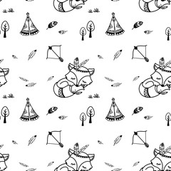Cute seamless pattern. American indian fox character