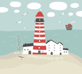 Vector illustration with lighthouse