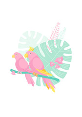 Color graphic drawing of a cute couple of pink birds parrots against background of tropical plants and flowers. Vector flat pastel illustration, isolated on white background.
