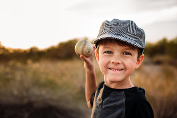 Young Boy About to Throw Baseball