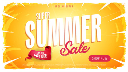 Summer Sale Template Banner/ Illustration of a wide summer sale template banner with colorul elements, typography and grunge frame