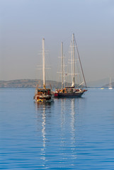 Bodrum, Turkey, 25 October 2010: Gulet Wooden Sailboats at Cove of Kumbahce
