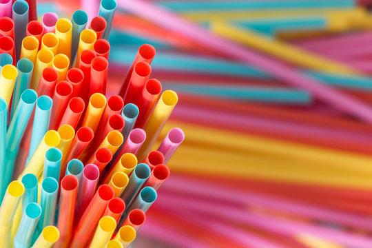 Rainbow colors plastic straws