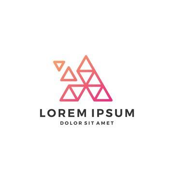 A letter pixel triangle geometric logo download