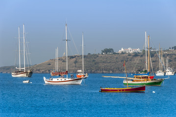 Bodrum, Turkey, 25 October 2010: Gulet Wooden Sailboats at Cove of Bardakci