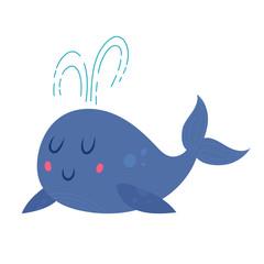 Cute smiling cartoon whale
