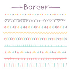 Set Of Colorful Doodle Borders. Vector Illustration.