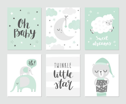 Set of cute baby vector illustations for nursery or baby shower. Moon, clouds, stars, elephants, sheep, sleeping bear and modern calligraphy phrases: twinkle little star and oh, baby.