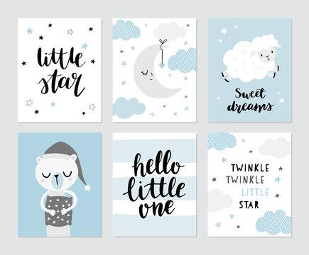 Cute moon, sheep, sleeping bear in pyjama, nursery rhymes. Hand lettering - Little star, sweet dreams, hello little one. Baby shower invitation, greeting card, nursery poster.