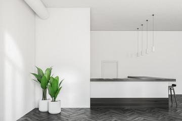 Minimalistic white bar interior, mock up wall