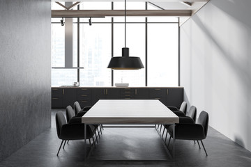 Gray panoramic kitchen and dining room
